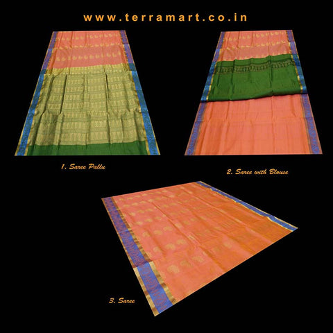 Terramart_Exclusive Silk Pure Pattu Saree for Women / Girls (Peach, Blue, Green & Gold)