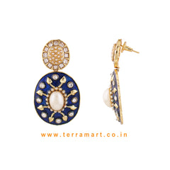 Impressive Antique Earring With White Stone Gold & Blue Enamel - Terramart Jewellery