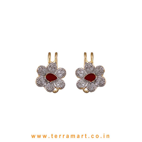 Floral Design White Zircon Stone Ear cuff With Red Enamel Work - Terramart Jewellery