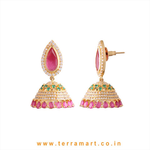 Traditional White, Green, Pink & Gold Zircon Stone Jumka - Terramart Jewellery