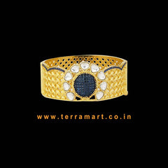 Broad Tidy Alloy Bracelet With Gold, Blue Zircon Stones & White Kundan Stones - Terramart Jewellery