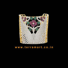 Flower Designed White, Green, Pink & Gold Zircon Stone Grand Bracelet  - Terramart Jewellery