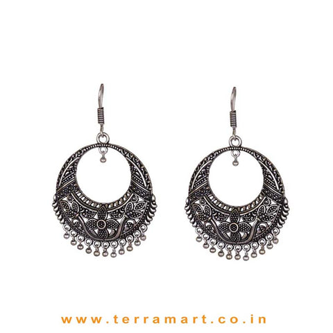 Chandbali Metal Hook Earrings In Floral Design - Terramart Jewellery