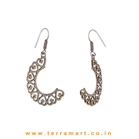 Heart Shaped Oxidized Metal Hook Earrings - Terramart Jewellery