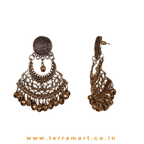 Artistic Oxidized Metal Earrings With Dangling Metal Beads - Terramart Jewellery