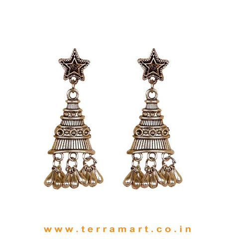 Tower Designed Star Studded Oxidized Metal Earings - Terramart Jewellery