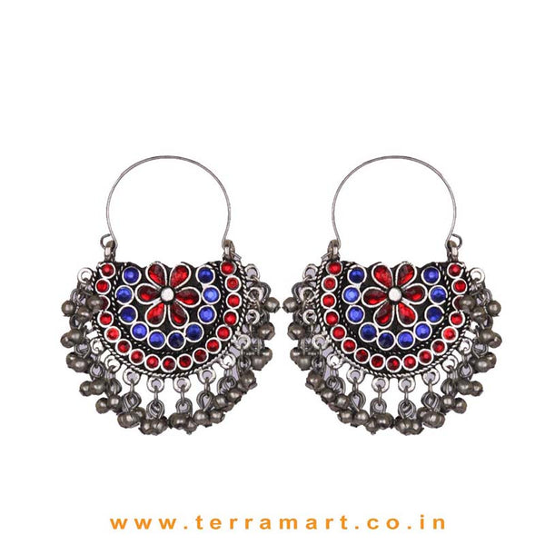 Red & Blue Colour Stoned Oxidized Metal Hoop Earrings With Dangling Metal Beads - Terramart Jewellery