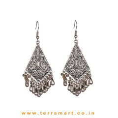 Tidy Oxidised Metal Hook Earrings With Dangling Beads - Terramart Jewellery
