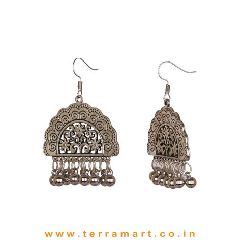Pretty Oxidised Metal Hook Earrings With Dangling Beads - Terramart Jewellery