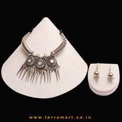 Stylish Oxidized Black Metal Necklace Set With Stone & Dangling Bullet Beads - Terramart Jewellery