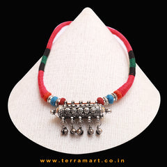 Maroon, Blue, Pink, Black & Green Threaded Pleasant Black Metal Necklace With Floral Pendent - Terramart Jewellery