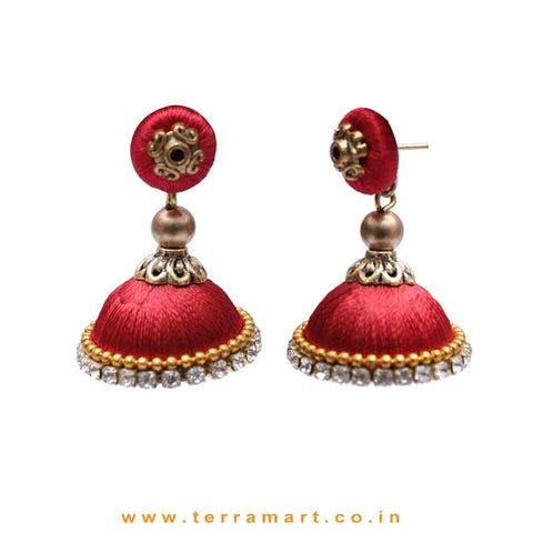 Simple & Nice Red & Gold Colour Silk Thread Jumkas With Stone - Terramart Jewellery