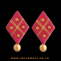 Nice-looking Red & Gold Colour Handmade Terracotta Earrings - Terramart Jewellery