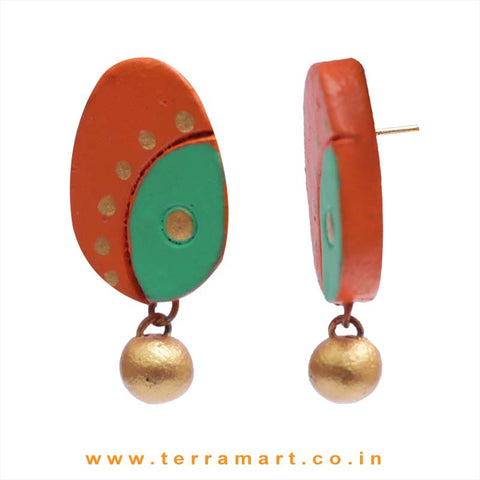 Pretty Orange, Parrot Green & Gold Colour Handmade Terracotta Earrings - Terramart Jewellery
