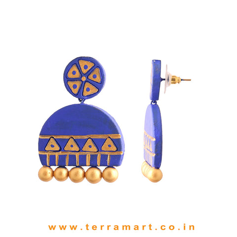 Grand Navy Blue & Gold colour Handmade Terracotta Earrings - Terramart Jewellery
