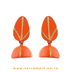 Orange & Gold colour Handmade Terracotta  jumka  - Terramart Jewellery