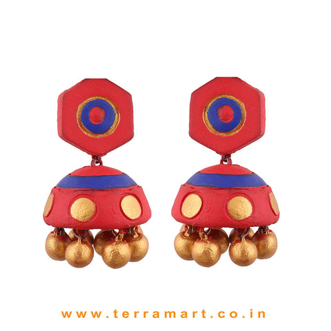 Grand Red, Navy Blue & Gold colour Handmade Terracotta jumka  - Terramart Jewellery