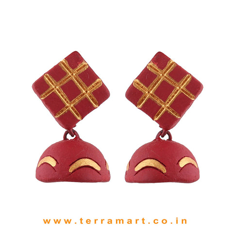 Checked designed Maroon & Gold colour Handmade Terracotta jumka  - Terramart Jewellery