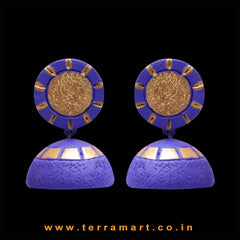 Engaging Navyblue & Gold colour Handmade Terracotta jumka  - Terramart Jewellery