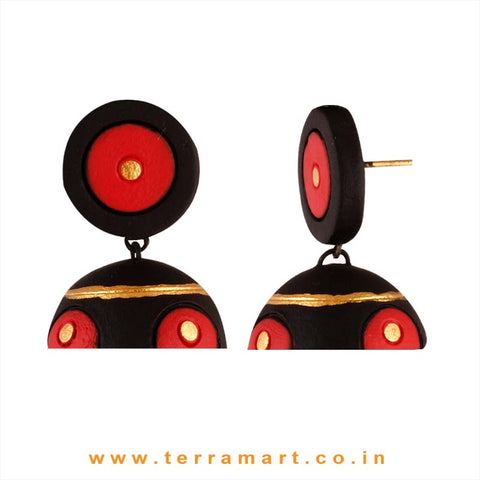 Nicely designed Black, Red & Gold colour Handmade Terracotta jumka - Terramart Jewellery