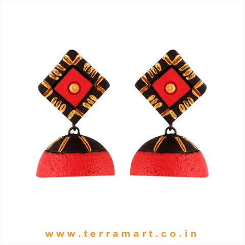 Delicate Desire Black, Red & Gold colour Handmade Terracotta jumka - Terramart Jewellery