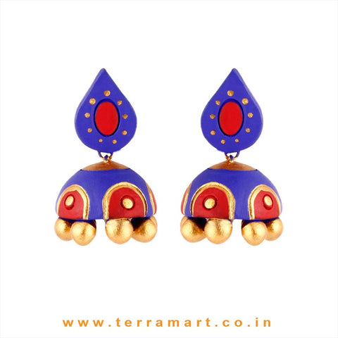 Tempting Navy Blue, Red & Gold Colour Handmade Terracotta jumkas - Terramart Jewellery