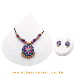 Artistic Navy Blue, Shiny Blue, Green & Gold Colour Combinated Terracotta Chain With Hook Earrings - Terramart Jewellery