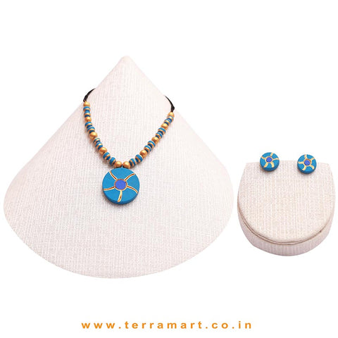 Goodly Painted Sky Blue, Navy Blue & Gold Colour Handmade Terracotta Chain With Earrings - Terramart Jewellery