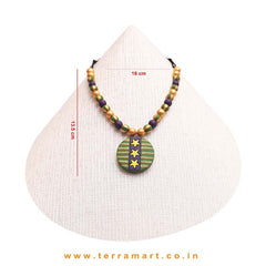 Well Designed Sap Green, Violet, Yellow & Gold Colour Handmade Terracotta Chain With Earrings - Terramart Jewellery