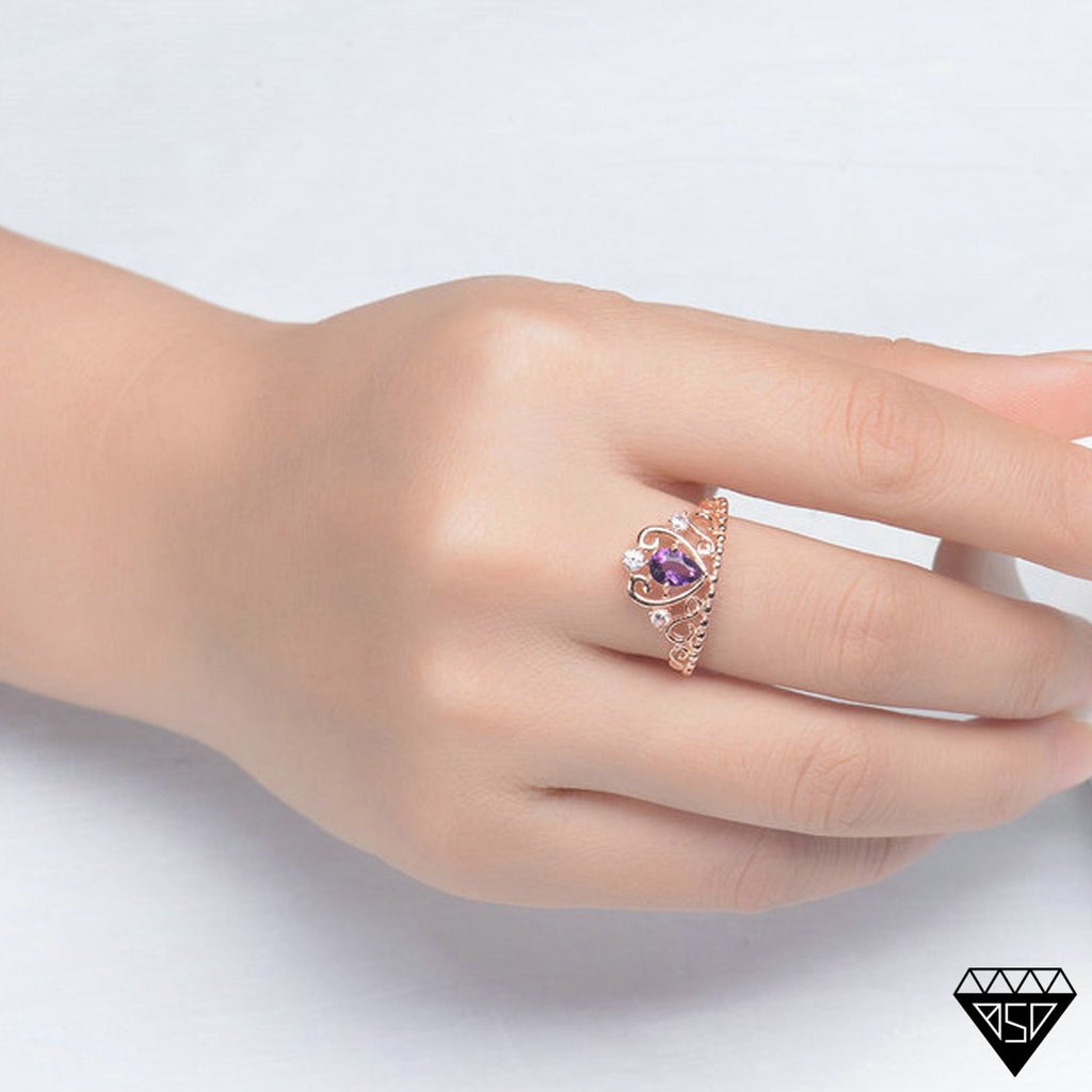 February Amethyst Crown Rose-Gold Ring (Resizable)