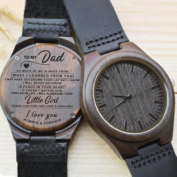 To Dad - From Daughter - Your Little Girl Always & Forever - Wood Watch