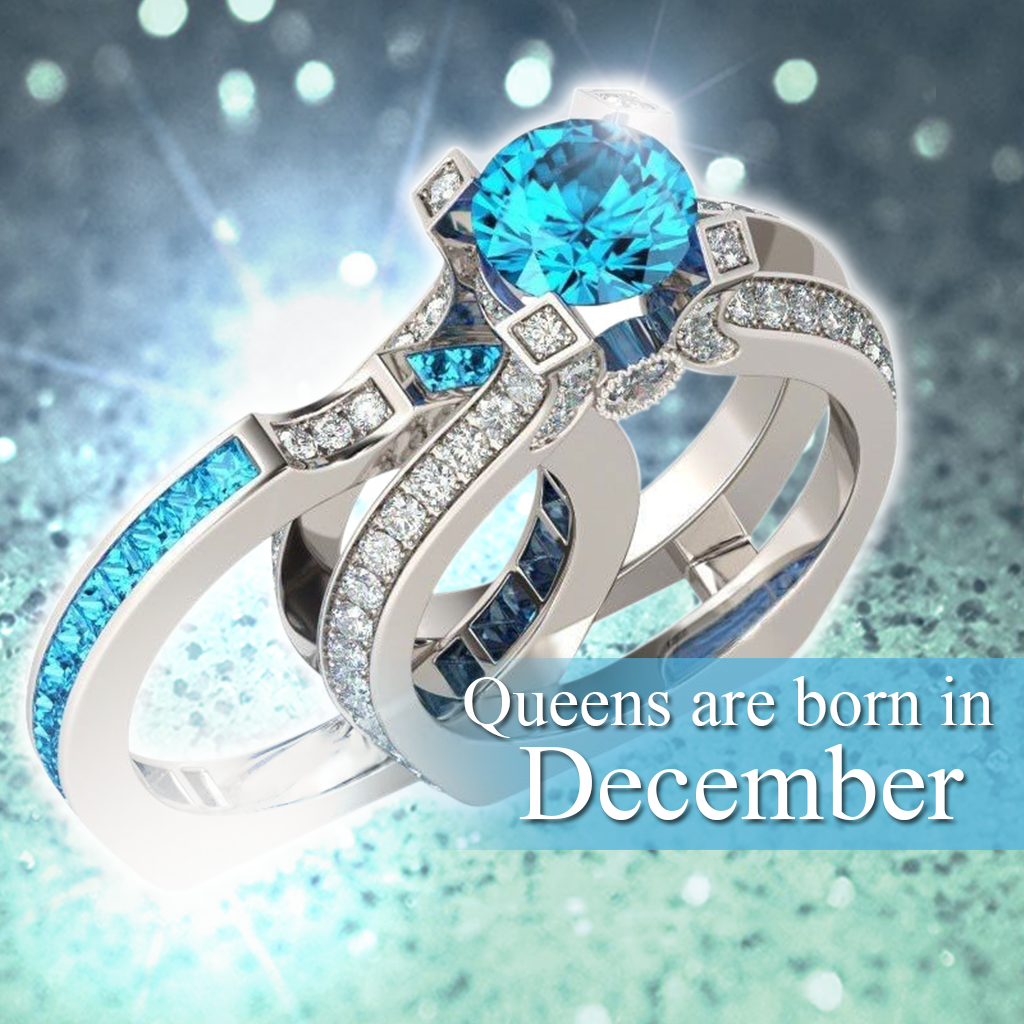 Silver Blue Topaz Birthstone Ring (December)