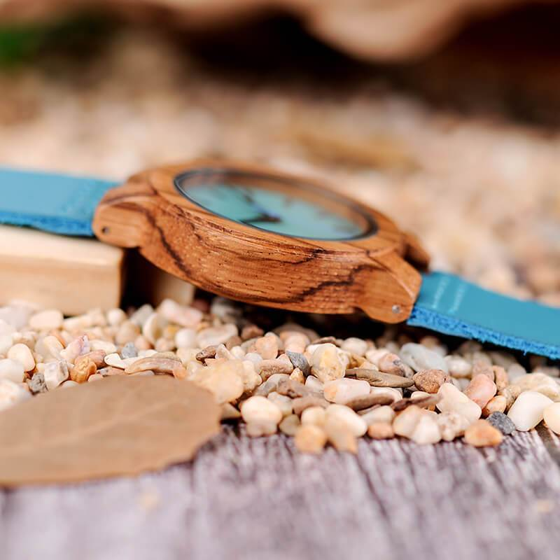 Daughter - Never Forget That I Love You - Sky Blue Leather Wood Watch