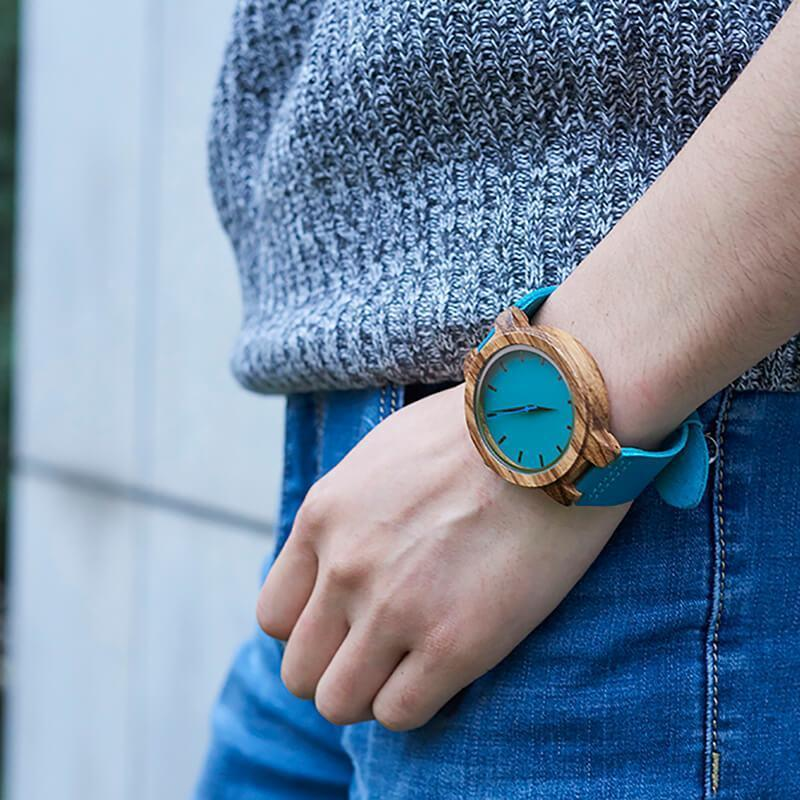 To My Daughter - I'm Always Here For You - Sky Blue Leather Wood Watch