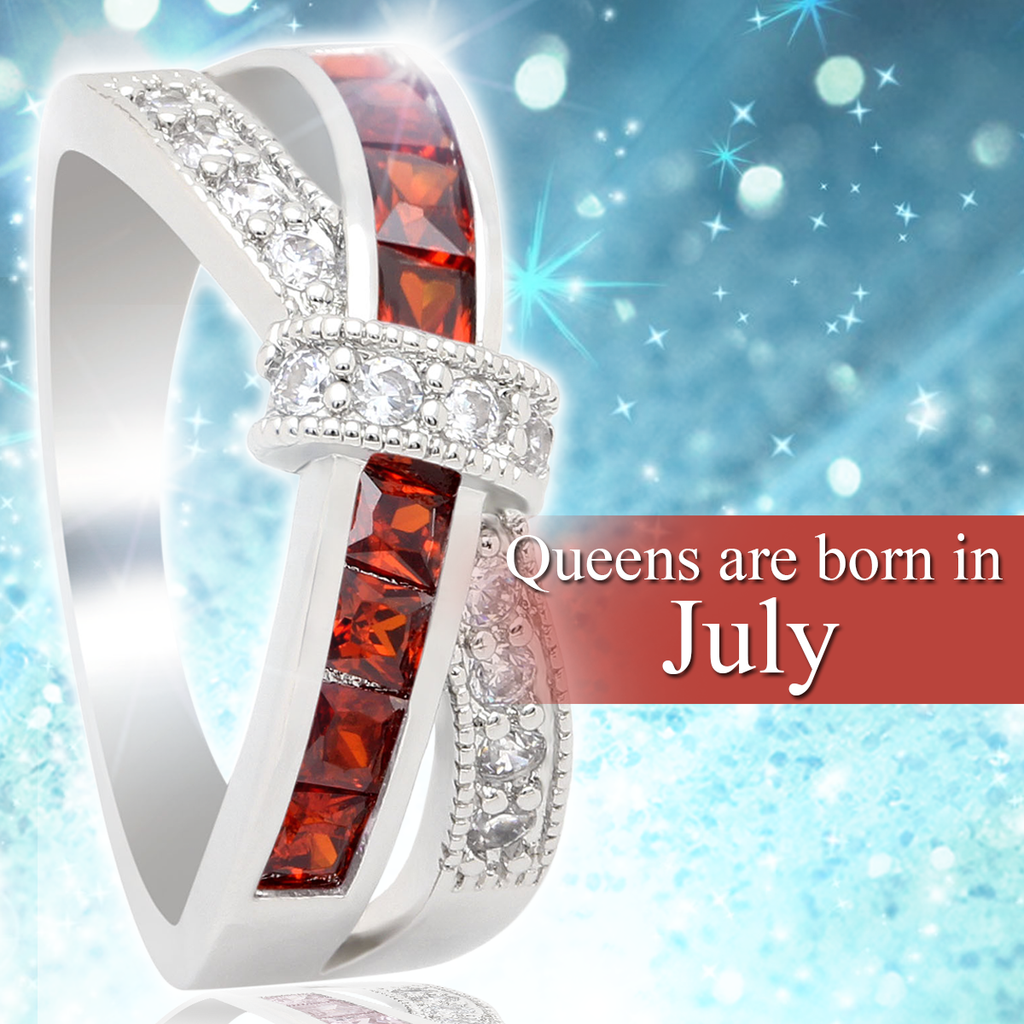 July Birthstone White Gold Filled Ring