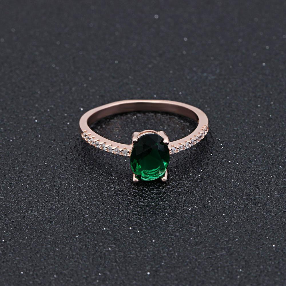 May Solitaire Rose-Gold Emerald Ring
