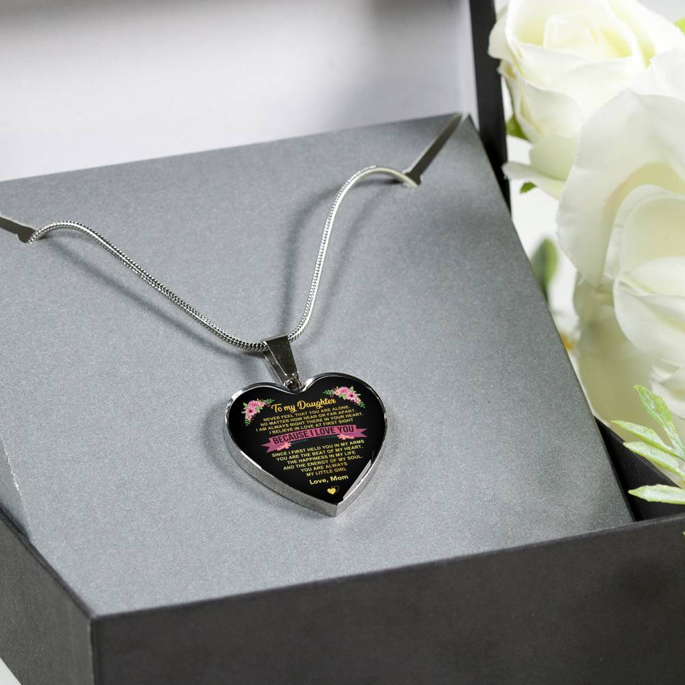 To Daughter - From Mom - Happiness In Life - Heart Necklace
