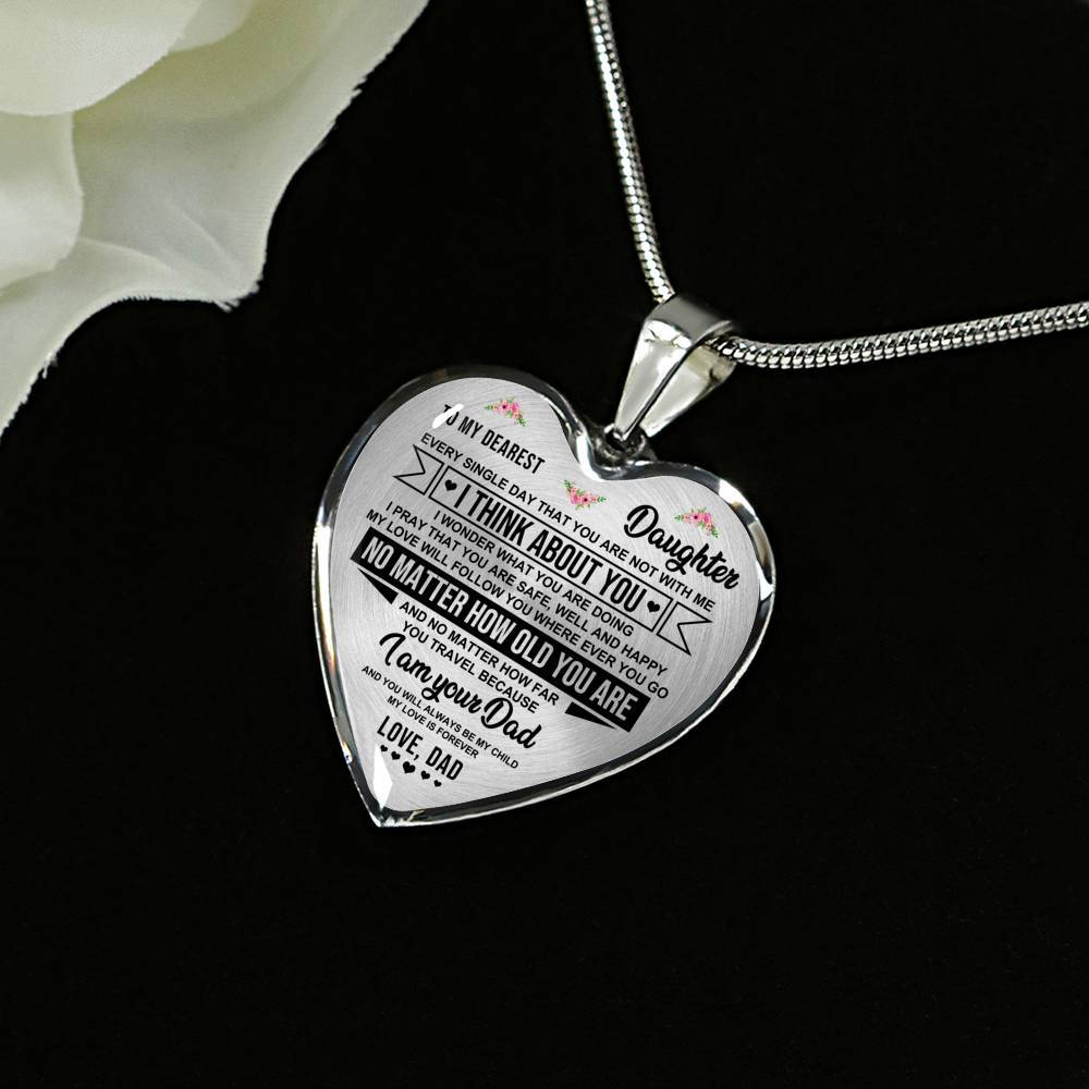 To Daughter - From Dad - My Love Is Forever - Heart Necklace