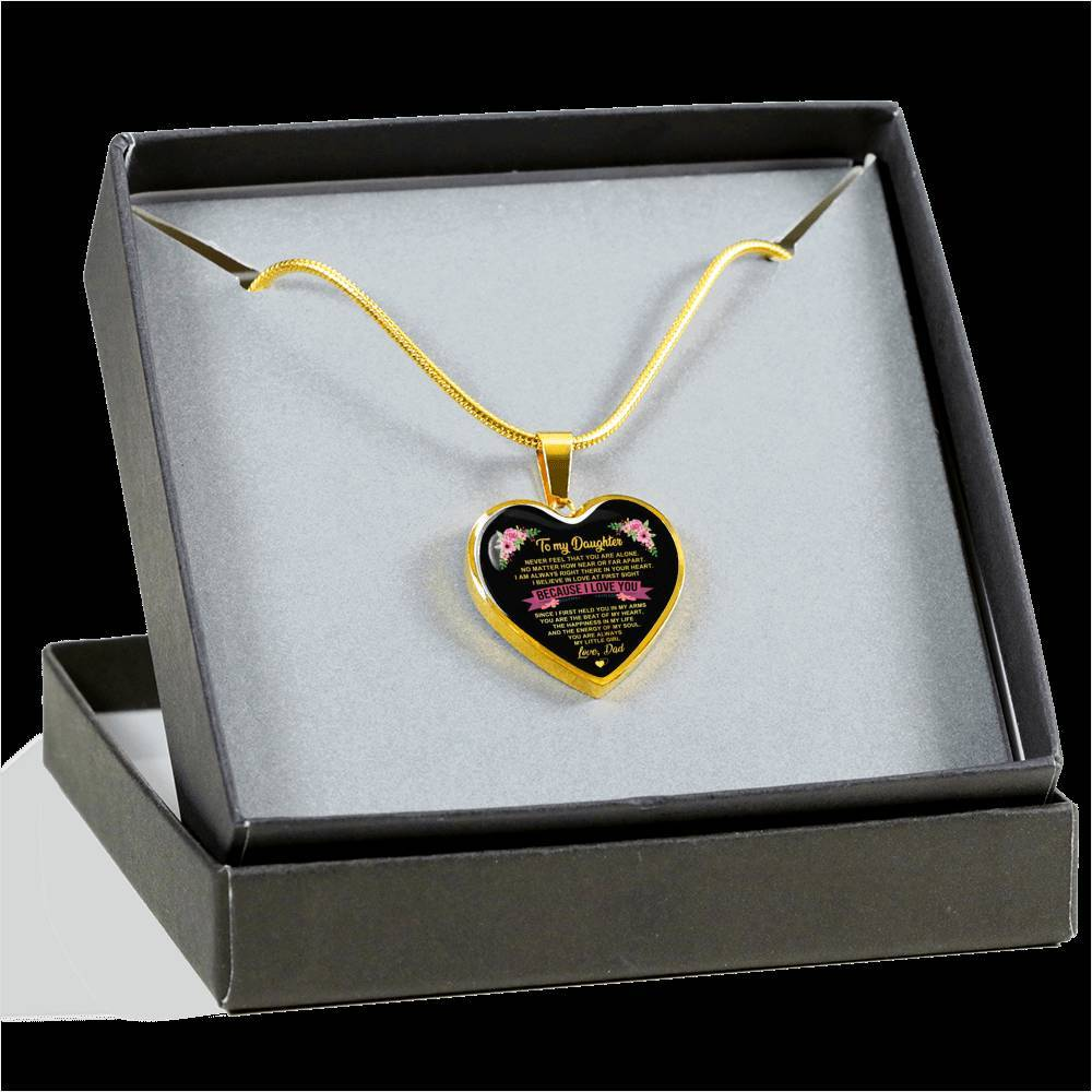 To Daughter - From Dad - Happiness In Life - Heart Necklace