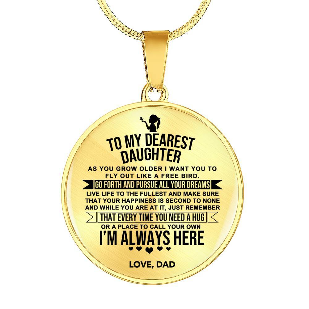 To My Dearest Daughter - From Dad *Real 18k Gold Finish Pendant Necklace