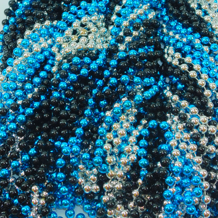 10mm 48inch metallic beads, silver-black-turquoise mix