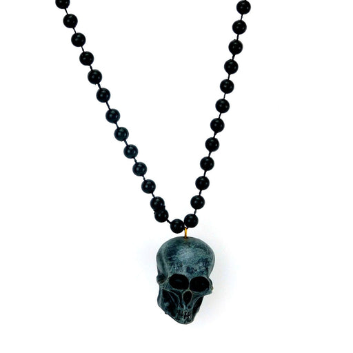 Beads, 7mm 33in Metallic Black w/Black Polystone Skull, Beads-GulfCoastBeads.com