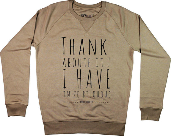 Sweatshirt Thank about it I have in ze bilouque Bleu marine by [FRENCHKIFF]