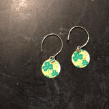 Tiny Circle Yellow with Shamrocks Tin Earrings