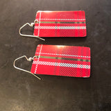 Medium Rectangle Red and Black Plaid Tin Earrings