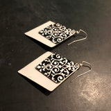 Double White and Black Diamond Tin Earrings
