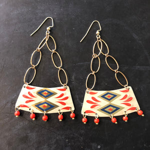 Navy and Coral Beaded Wedge Chandelier Tin Earrings