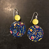 Beaded Navy Floral Tin Earrings
