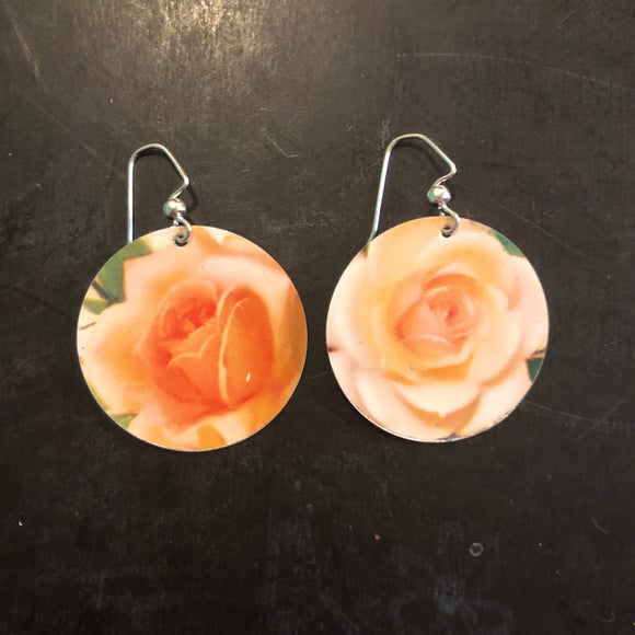 Yellow Rose Medium Circles Tin Earrings