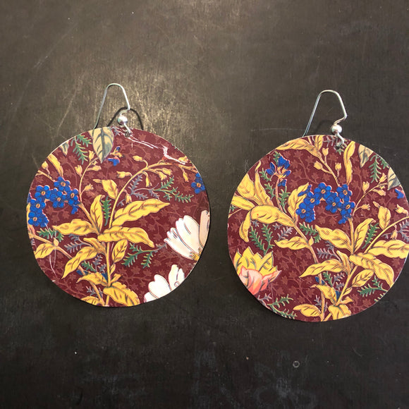 Large Burgandy, Yellow and Blue Floral Circles Tin Earrings
